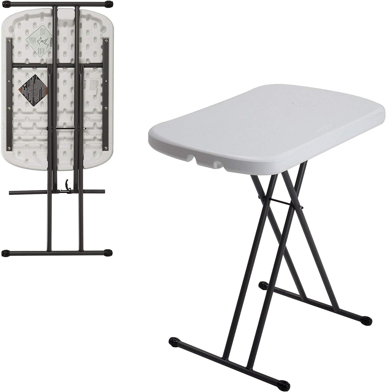 Amazon Com Lifetime 80251 Adjustable Folding Laptop Table Tv Tray 26 Inch White Granite Patio Tables Garden Outdoor