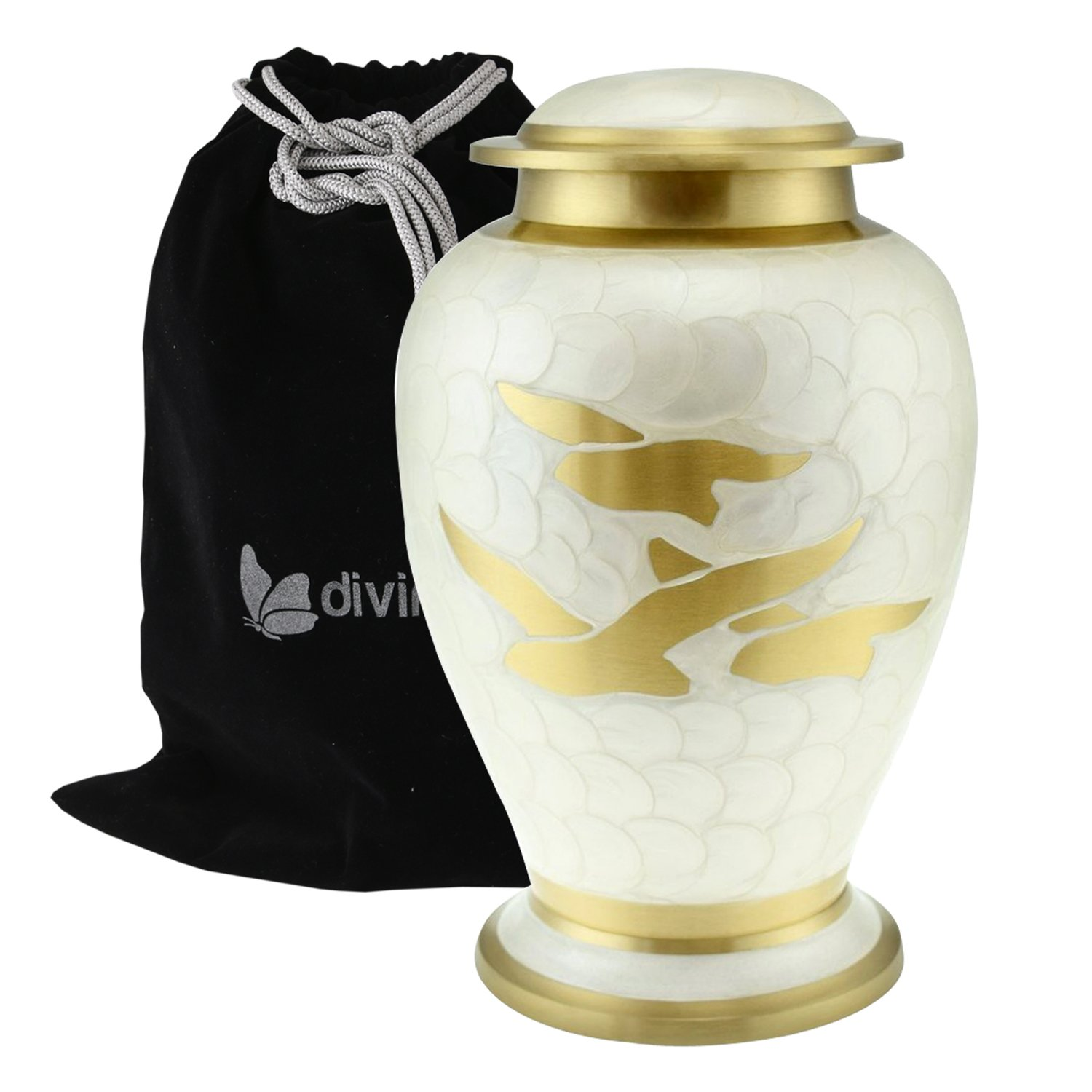 Divinityurns Pearl White with Golden Wings of Love Cremation Urn - Large Wings of Freedom Urn - Solid Brass 100% Handcrafted Affordable Golden Wings Urn for Human Ashes with Free Velvet Bag IURE110