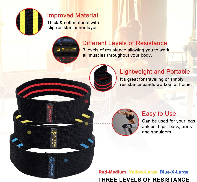 les /étirements Sangle de cheville Bandes de fitness pour les exercices musculaires Lot de 5 bandes de r/ésistance Vivibel Avec 5 tubes de fitness le yoga le sport Sac de transport Ancrage de porte