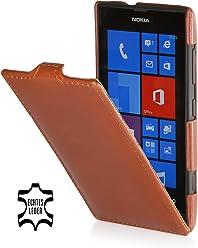 StilGut UltraSlim Case, housse en cuir véritable pour Nokia Lumia 520, Cognac
