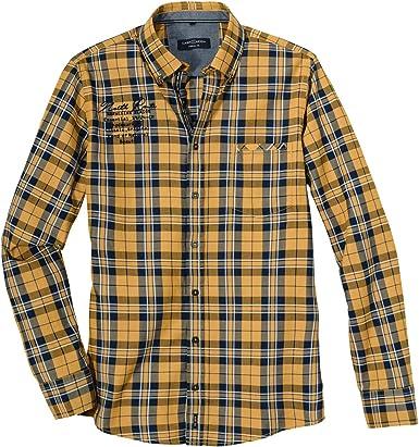 Casamoda XXL Camisa de Manga Larga Ocre-Amarillo-Azul-Blanco ...