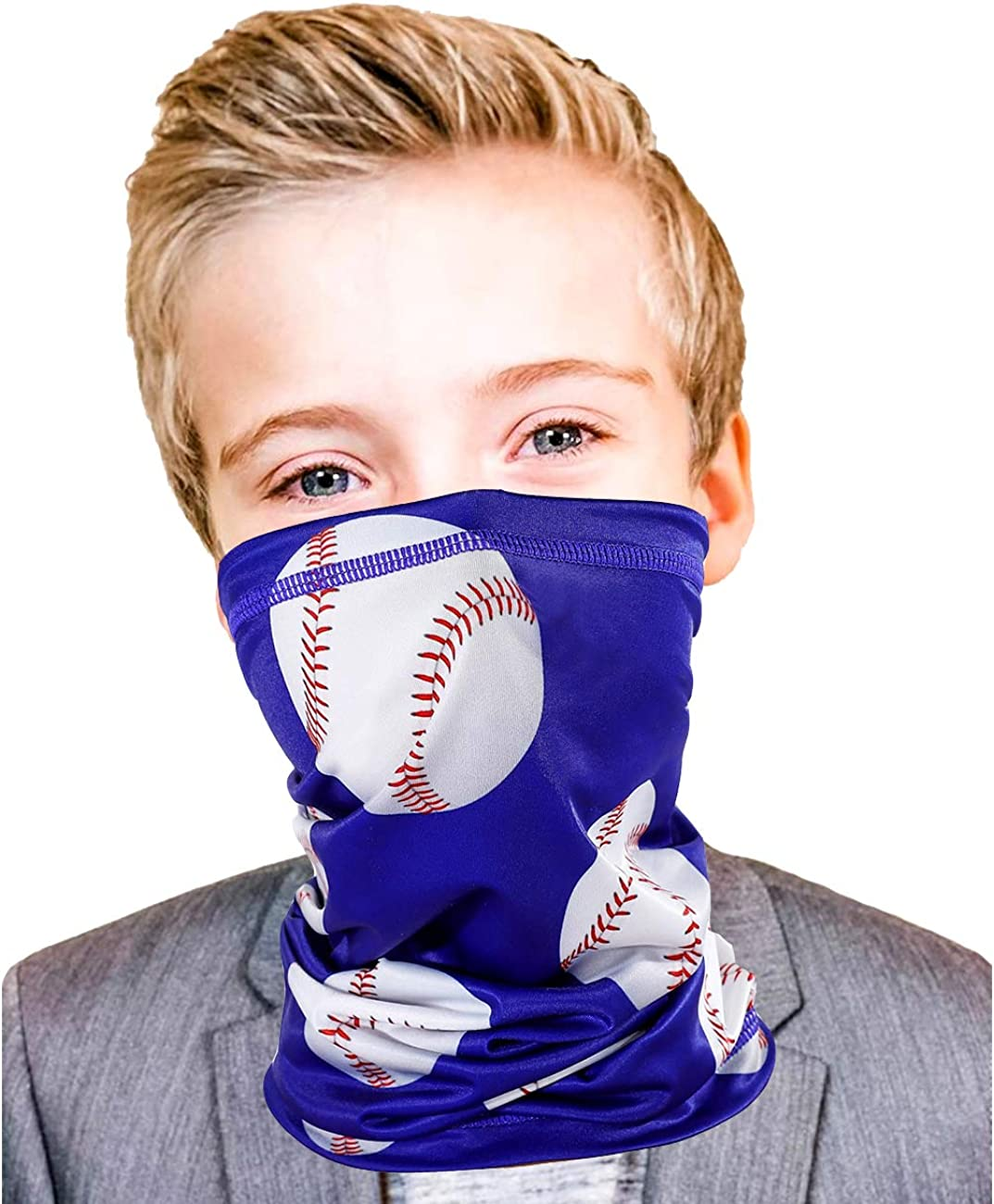Kids Gator Mask Baseball Boys Gift Face Gaiter Bandanas 4-12 Years Old Youth Gaitor UV Sun Protection Outdoor Sport Themed Fishing Masks (Baseball): Clothing