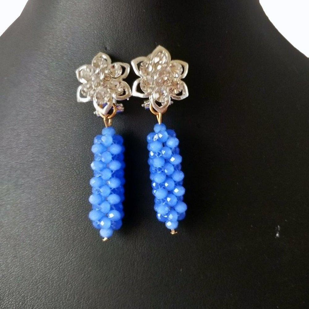 AMYNOVA Wonderful Blue African Beads Jewelry Set Fashion Nigerian Wedding Crystal Necklace Sets