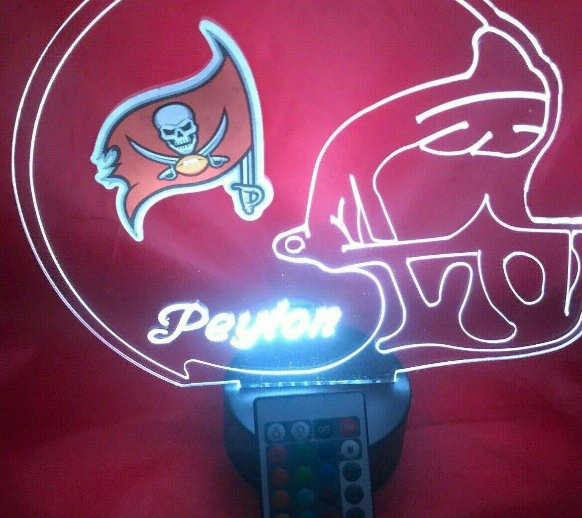 Tampa Bay Buccaneers NFL Light Lamp Light Up Hand Crafted Football Helmet Table Lamp LED with Remote, Personalized – It s Wow, with Remote 16 Color Options, Dimmer, Free Engraving, Great Gift