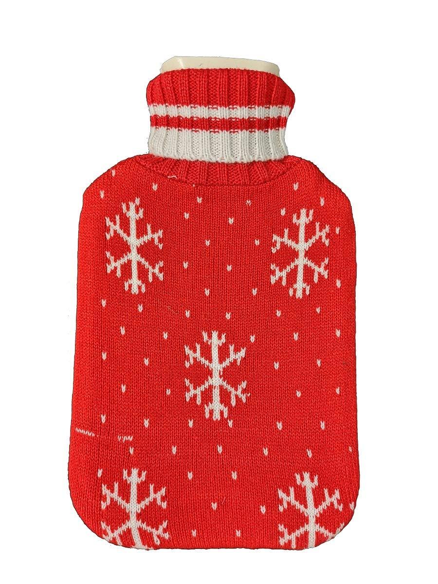 Bolsa de agua caliente bebe rojo Fontee bolsa para agua caliente capacidad Mini 0.5L para ni/ños cubierta de dise/ño de copo de nieve de punto suave