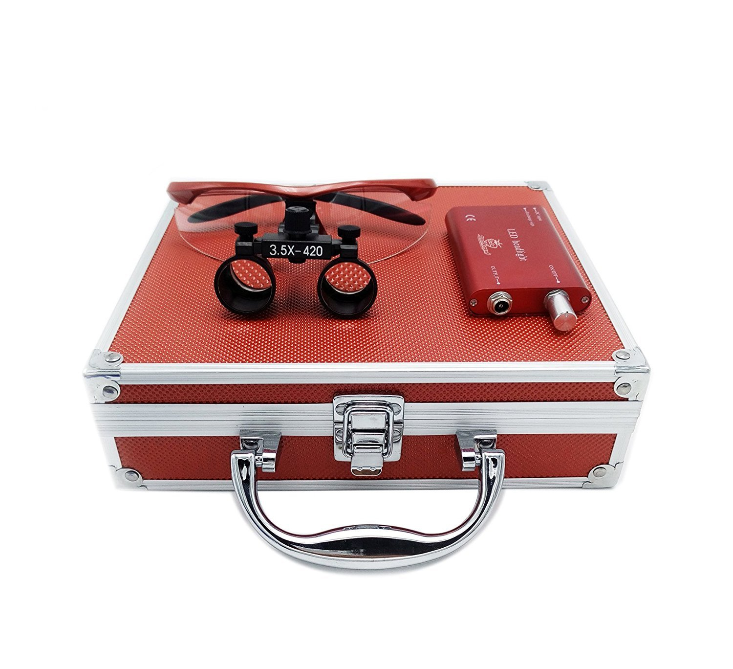 Ocean Aquarius NEW Surgical Binocular Loupes 3.5x420MM Optical Glass with LED Head Light Lamp+Red Aluminum Box