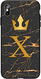 Okteq Case for iphone XS Max Shock Absorbing PC TPU Full Body Drop Protection Cover matte printed - Golden X letter black marble By Okteq