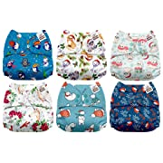 Mama Koala One Size Baby Washable Reusable Pocket Cloth Diapers, 6 Pack with 6 One Size Microfiber Inserts (Frosty)