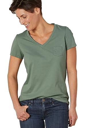 8dc3815f6 Fair Indigo Fair Trade Organic Relaxed Pocket V-Neck Tee at Amazon Women's  Clothing store: