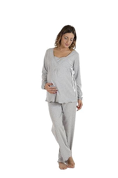 Premamy - Mujer Pijama Premamá Maternidad Para Embarazo y Lactancia - Color: Gris - Tamaño