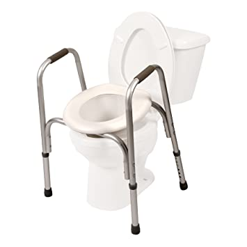 raised toilet seat with safety frame two in one