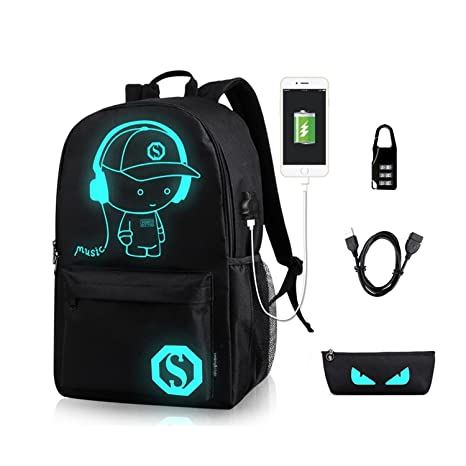 60eebad9c95 Image Unavailable. Image not available for. Color  Anime Luminous Backpack  Noctilucent School Bags Daypack USB ...