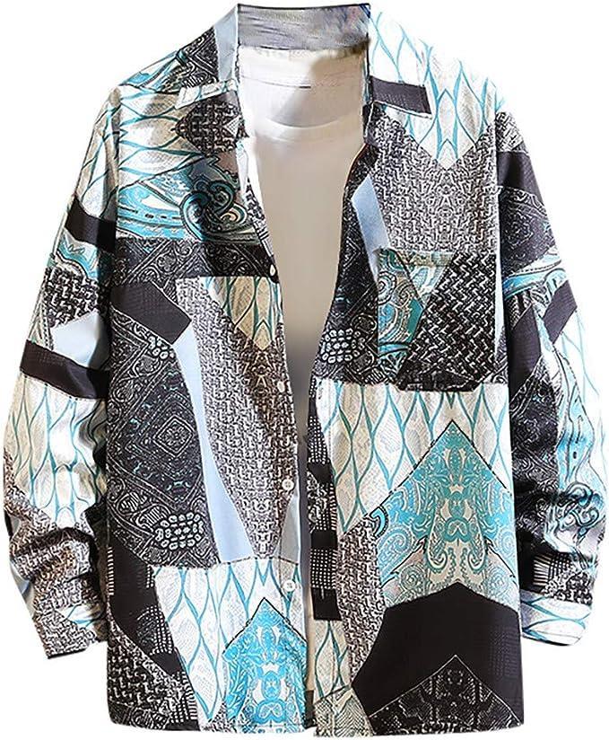 Sylar Camisa Hombre Manga Larga Casual Camisa De Estampado Original Camisa De Vestir para Hombre Camisa A Rayas para Hombre Tops Blusa Hombre Blanca Oto/ño Casual Formal Slim Button-Down Cuadros
