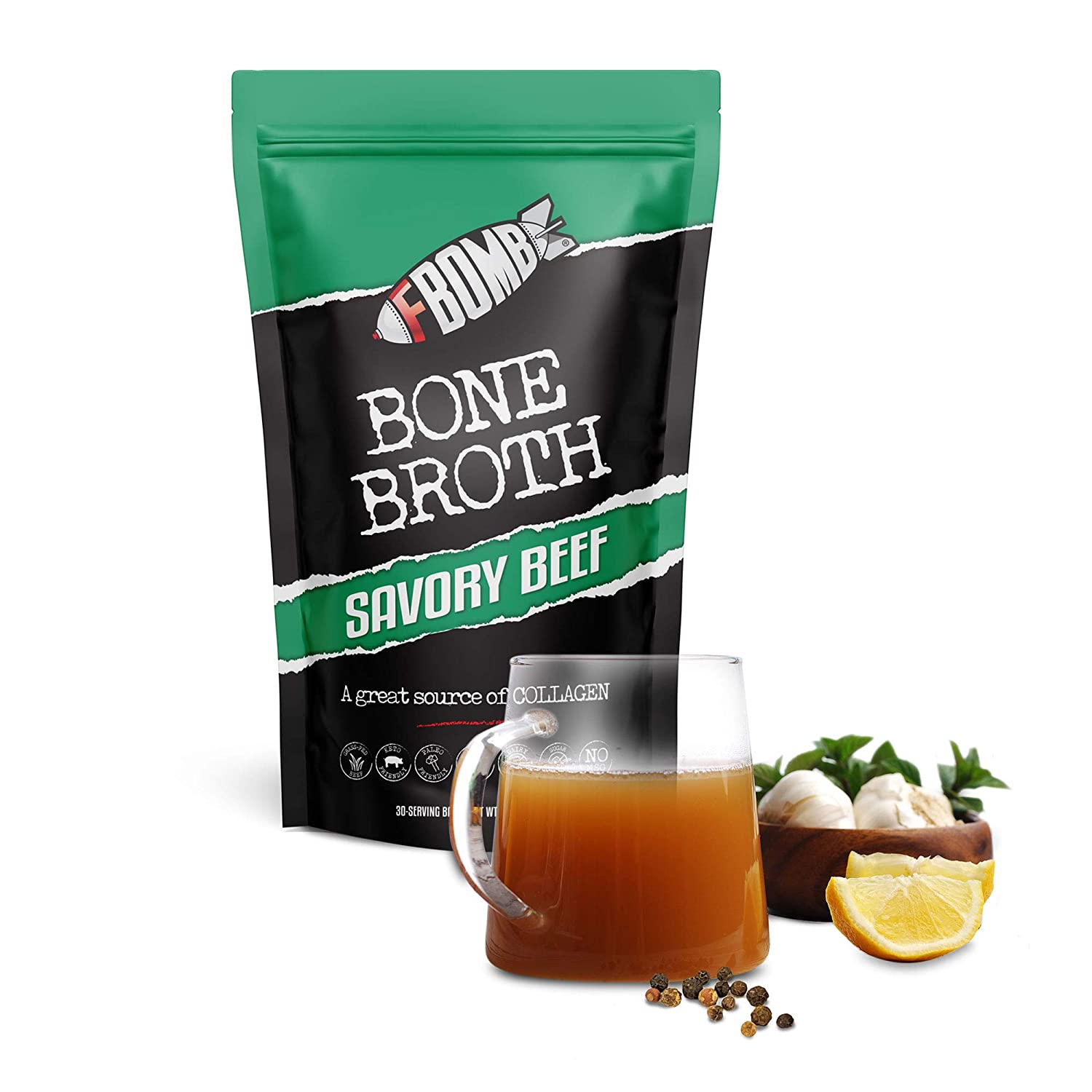 FBOMB Beef Bone Broth Protein Powder - 30 Servings: Keto & Paleo Friendly Soup, Fortified with Electrolytes & Collagen | Grass-Fed, Pasture Raised Beef | Dairy-Free, Gluten Free, Non-GMO | Savory