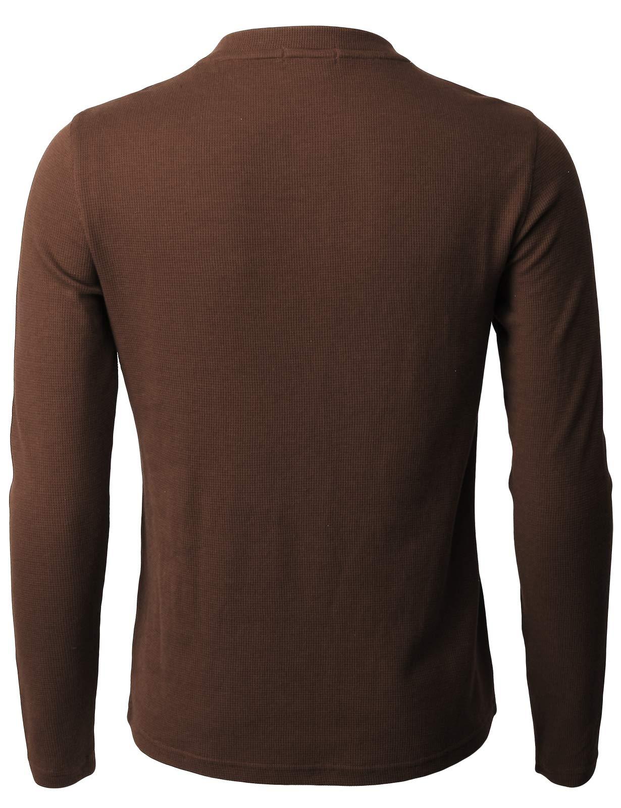 Pishon Mens Plain Henley Shirts Long Sleeve Slim Fit Button Casual V-neck Tee Shirts
