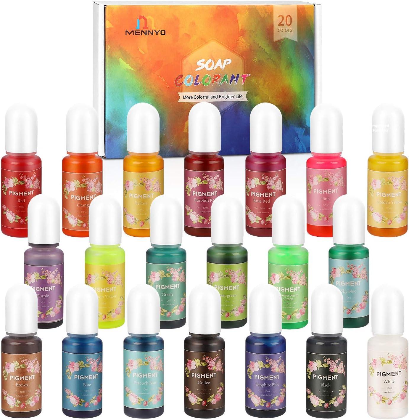 Pigmento para Resina Epoxi, Colorante Jabones 10ml*20 Colores - MENNYO Tinte natural líquido para Kit Hacer Velas, Fabrica Slime, Bomba de Baño, ...