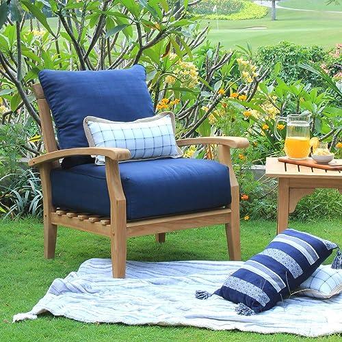 Cambridge Casual Solid Teak Wood Auburn Lounge Chair, Navy