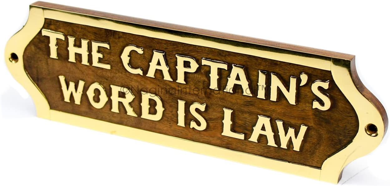 Nagina International Captain's Word is Law Hand Crafted Wooden Sign Board | Wood Plaque | Nautical Maritime Wall Decor