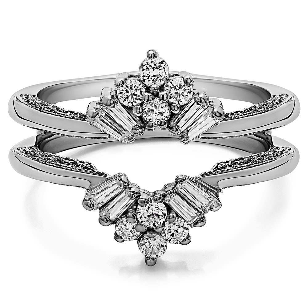 TwoBirch 0.43 ct. Cubic Zirconia Vintage Fan Style Ring Guard with Millgrained Edges and Filigree Design in Sterling Silver (3/8 ct. twt.)