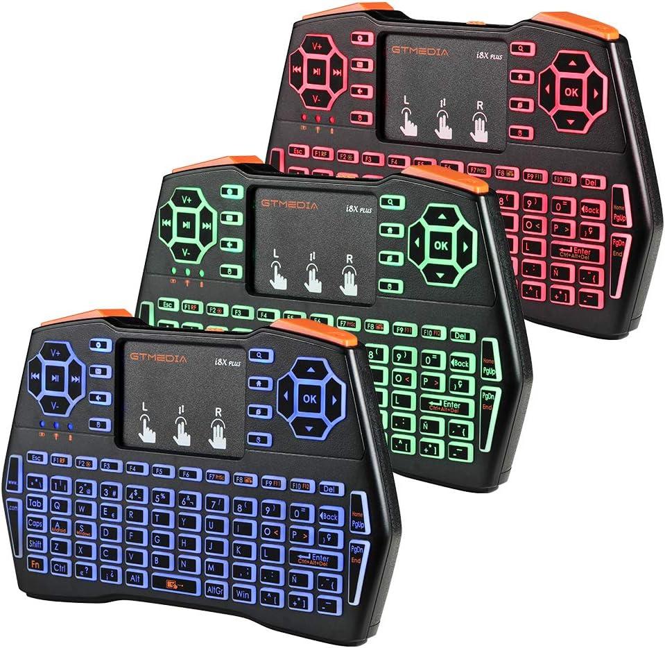 I8X Plus 2.4G Mini teclado inalámbrico, Combo de mouse de teclado recargable USB retroiluminado portátil con panel táctil, Teclado de control remoto de 92 teclas para computadora portátil / Smart TV