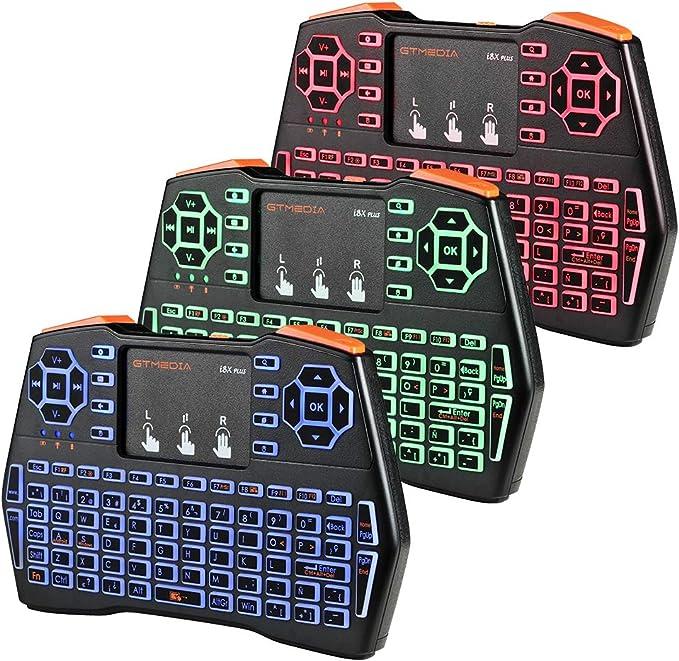 I8X Plus 2.4G Mini Teclado inalámbrico, Combo de Mouse de Teclado Recargable USB retroiluminado portátil con Panel táctil, Teclado de Control Remoto ...