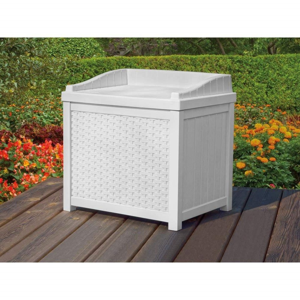 Pool Storage Containers Deck Box Poolside Patio Bench Small Seat White Resin Wicker 22 Gallon
