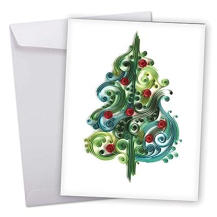 amazon com big xmas quilling blue tree holiday greeting card