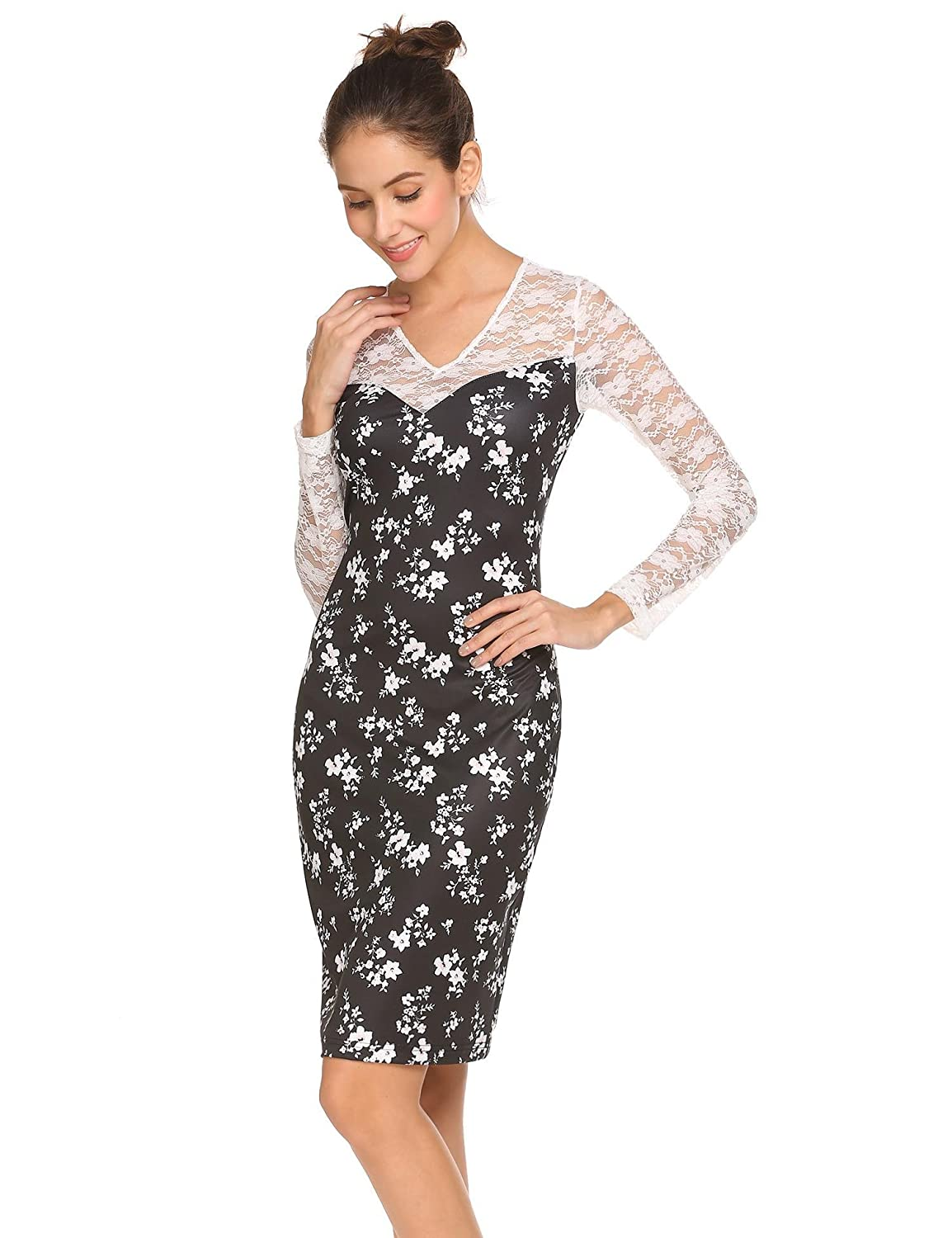 Women Long Sleeve Lace Patchwork Floral Bodycon Midi Dresses at Amazon  Women s Clothing store  f543335c2