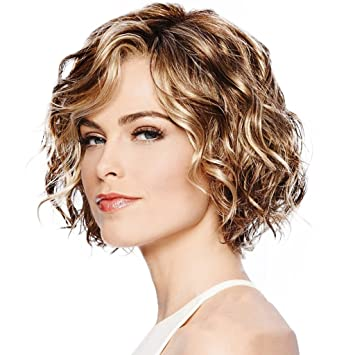 Amazon Com Lvyuanda Women Synthetic Wig Short Curly Highlights