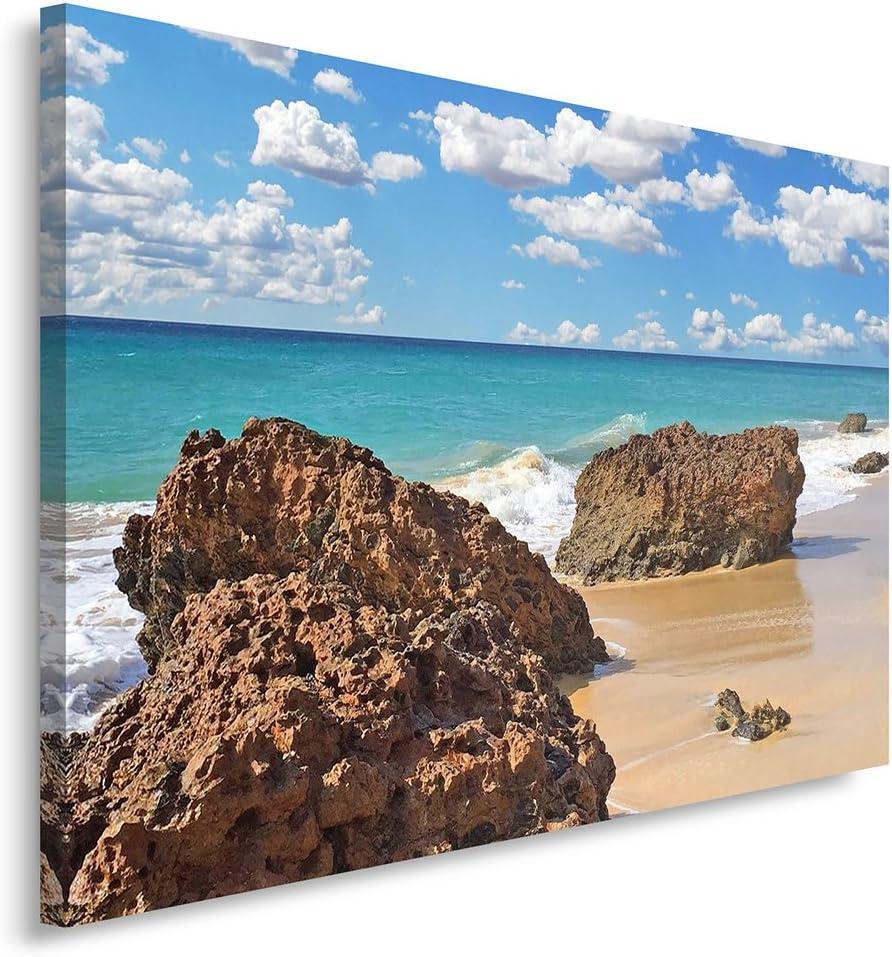 Feeby Cuadro en Lienzo - 1 Parte - 80x120 cm, Imagen Impresión Pintura Decoración Cuadros de una Pieza, Mar, Naturaleza, Azul