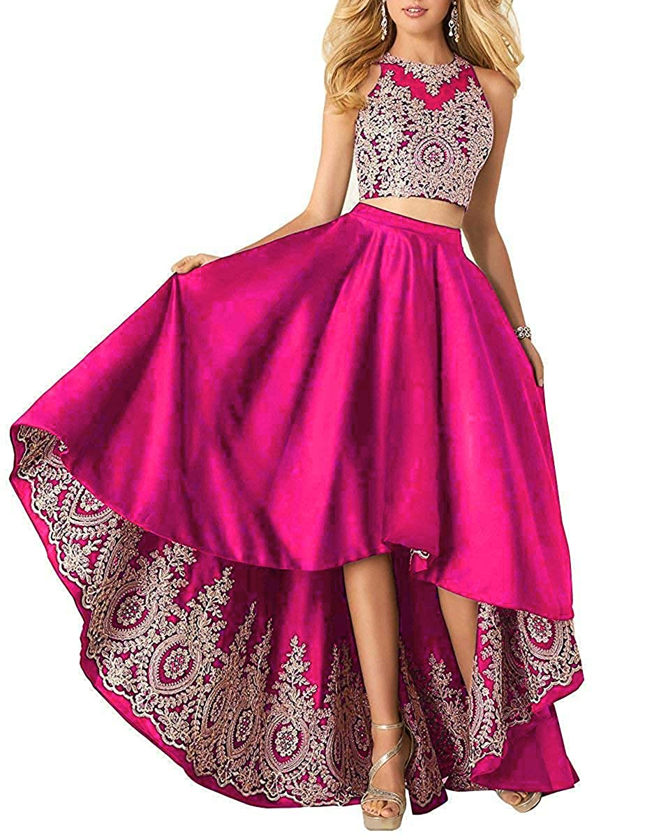 Hot Pink Miao Duo Women's High Low Lace Beads Prom Party Dresses 2 Pieces Long Formal Homecoming Ball Gowns PM121