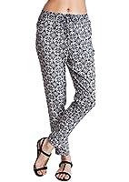 Woman White Abstract Floral Print Black Drawstring Pants