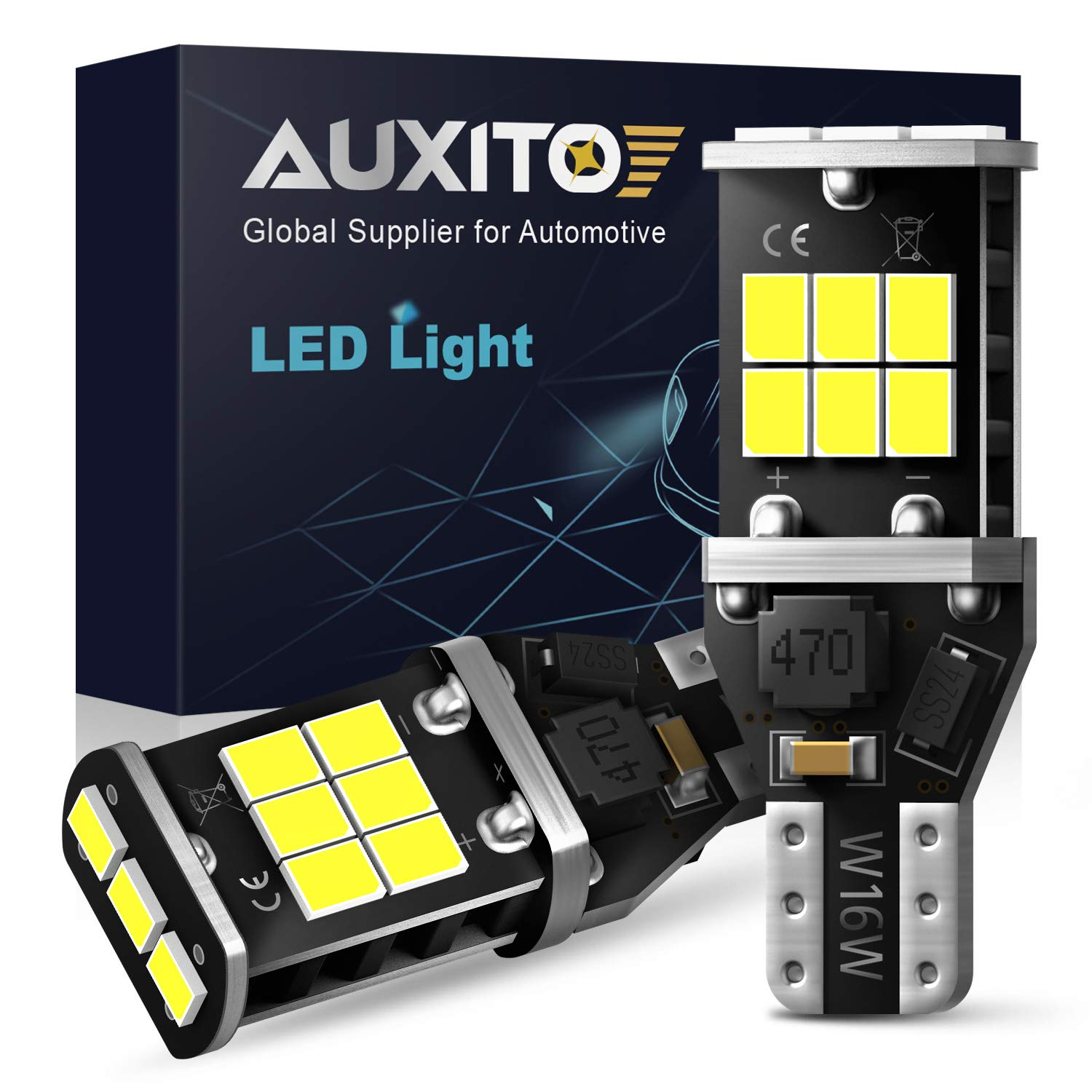 AUXITO 912 921 LED Backup Light Bulbs High Power 2835 15-SMD Chipsets Extremely Bright Error Free T15 906 W16W for Back Up Lights Reverse Lights, 6000K White (Upgraded,Pack of 2) by AUXITO