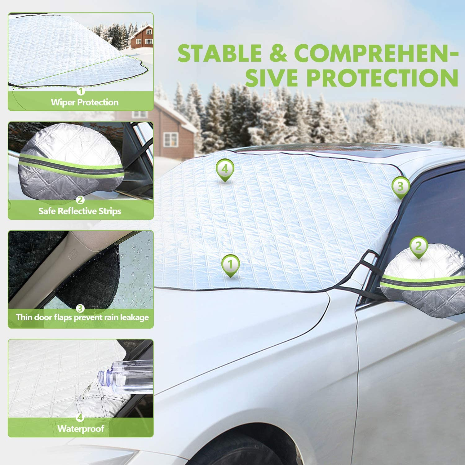 5 Layers Magnet Sunshade Waterproof Frost Ice-Resistant Side Mirror Covers Wiper Protector with Anti-Theft Buckle for Most Cars All Weather Omew Car Windshield Cover Snow