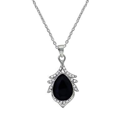 Buy oviya rhodium plated black crystal teardrop pendant with chain oviya rhodium plated black crystal teardrop pendant with chain ps2101609rbla mozeypictures Images