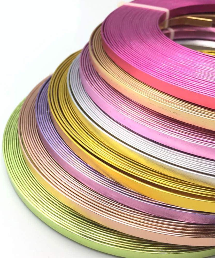 Asitlf Artisanat Aluminium Fil Plat 2Roll assurage Flexible en m/étal pour Bricolage Jardinage Bijoux Faire,Beige