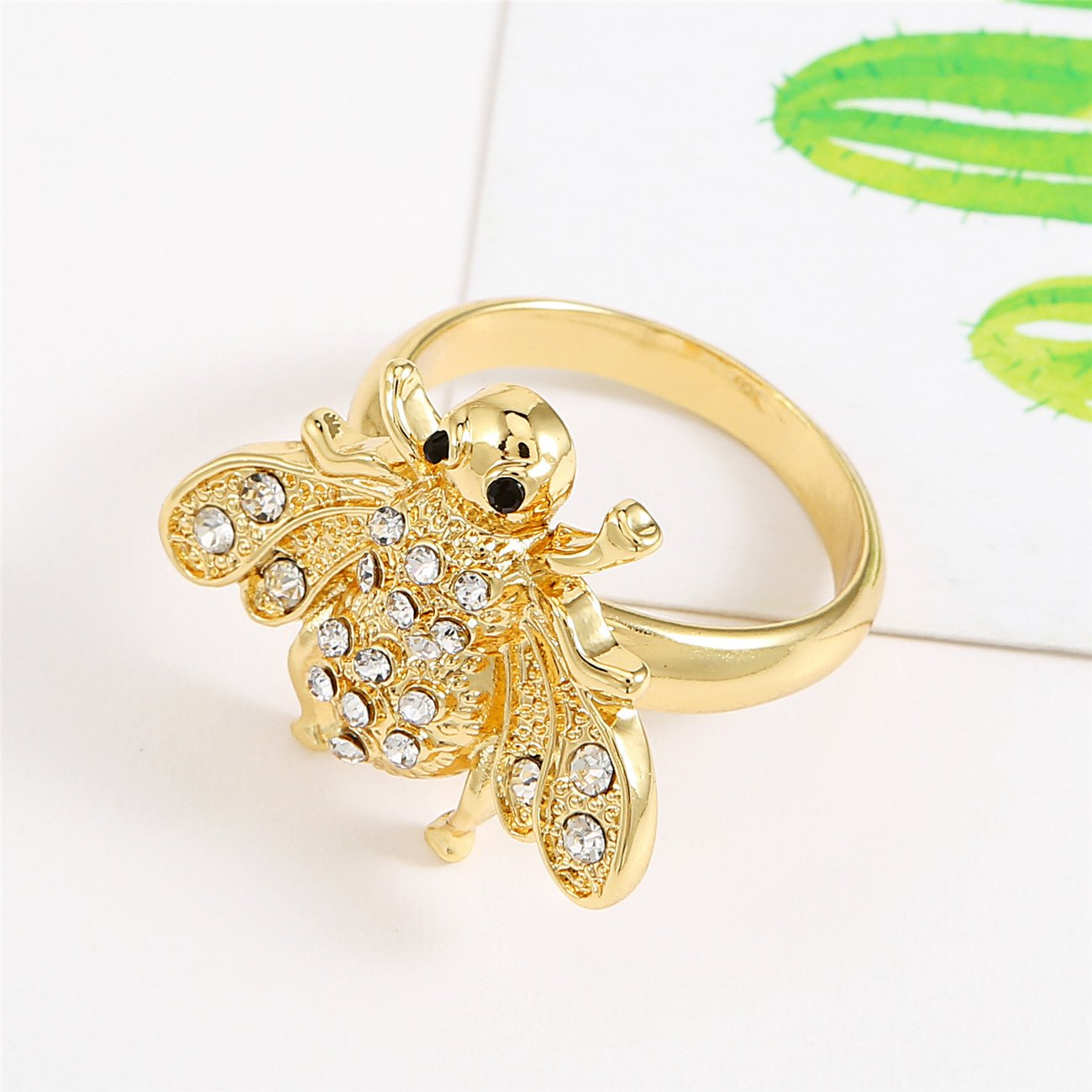 RUXIANG Crystal Flying Bee Insect Charm Finger Ring Jewelry silver