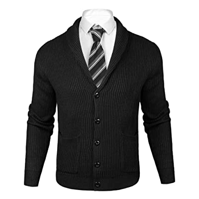Sykooria Mens Thick Cardigan Sweaters Casual Fit Shawl Collar Button Down Soft Knit Sweaters with Ribbing Edge at Men's Clothing store