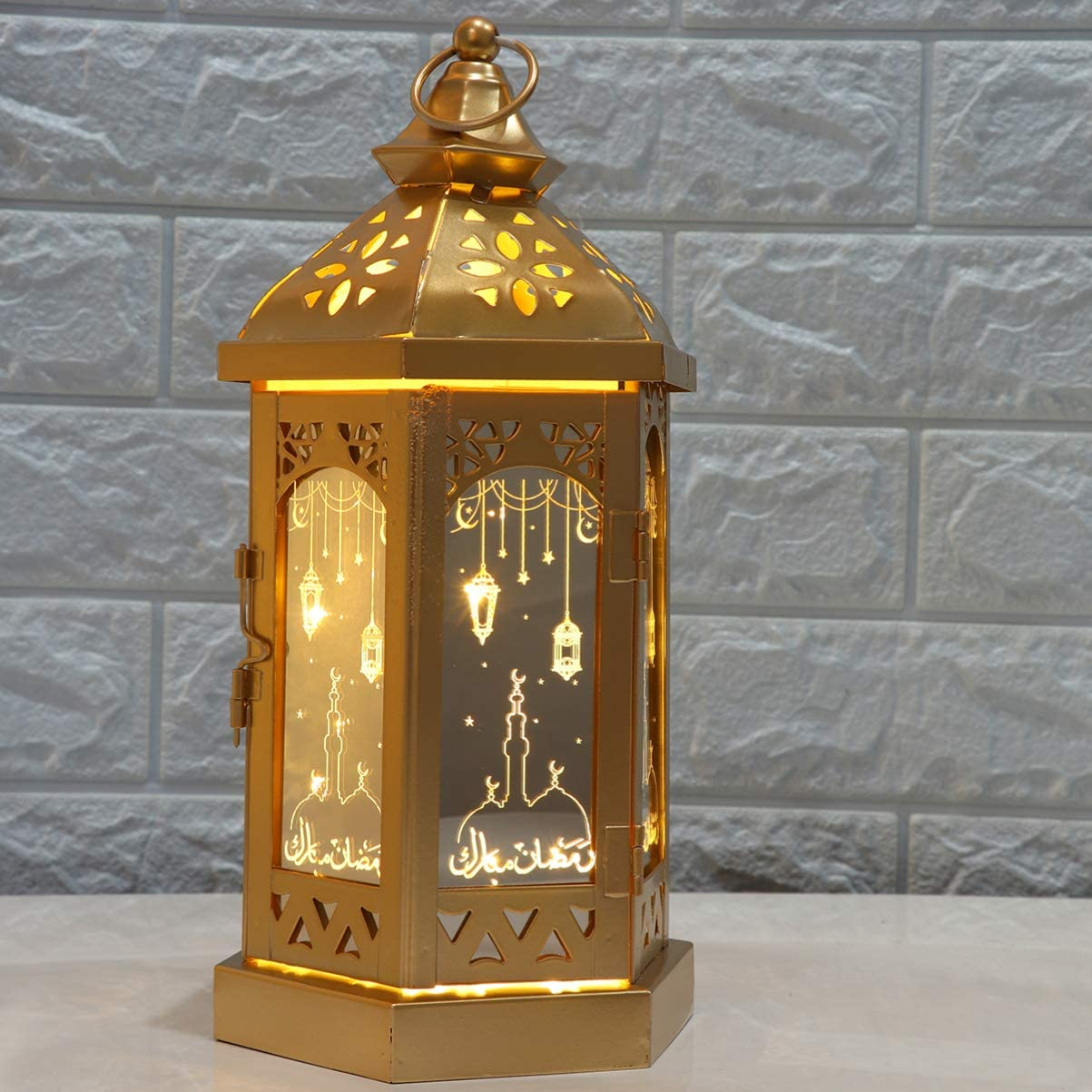 mobestech ramadan table lantern iron muslim church pattern eid table lantern ramadan hanging lantern for home 1pcs gloden amazon com amazon com