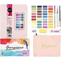 Entweg 36 Cores Conjunto de Tintas para Aquarelas Sólidas Pigmento Desenho Pintura com Pincel de Água Lápis Esponja…
