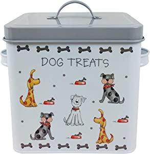 The Leonardo Collection Faithful Friends Dog Treat Container   Pet Treat Holder with Lid   Durable Dog Biscuit Tin Jar Canister   Dog Food Storage Container