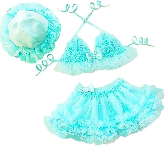 TAIYCYXGAN Girls Two-Pieces Lace Bikini Cute Tankini Beach Swimwear with Hat