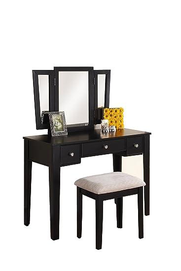 Terrific Poundex Bobkona Adar Vanity Set With Stool Black Pabps2019 Chair Design Images Pabps2019Com