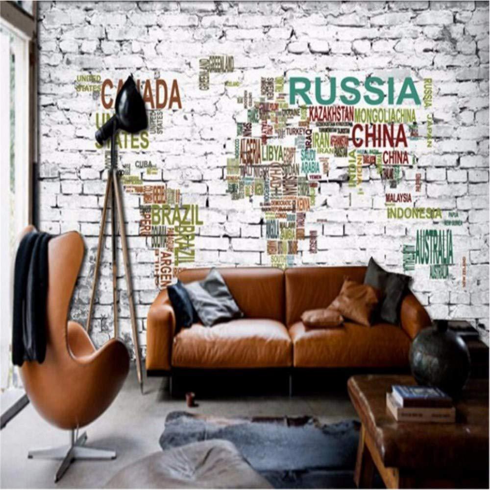 Weaeo  カスタム大きなヨーロッパスタイルのレンガの壁3Dステレオアルファベットマップテレビのベッドルームの壁紙の壁紙-400X280Cm B07HB1RFDW 400X280cm 400X280cm