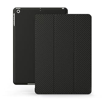 KHOMO Funda iPad Air 1 - Carcasa Fibra de Carbono Protectora Ultra Delgada y Ligéra con Smart Cover y Soporte para Apple iPad Air 1 - Carbon Fiber