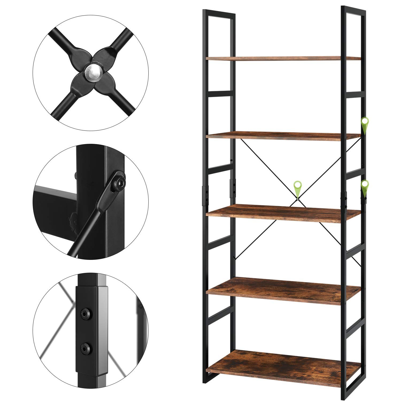 Homfa Bookshelf Rack 5 Tier Vintage Bookcase Shelf Storage Organizer Modern Wood Look Accent Metal Frame Furniture Home Office by Homfa (Image #6)