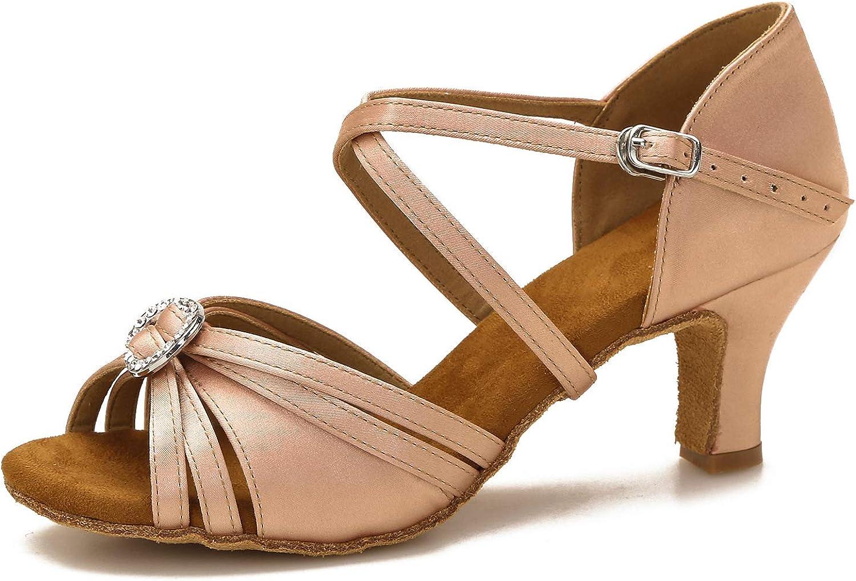 Yokala Ballroom Dance Shoes Let's Stay Home Dance Women Latin Salsa Practice Open-Toe Sandals 2.5 Inch Heels S01