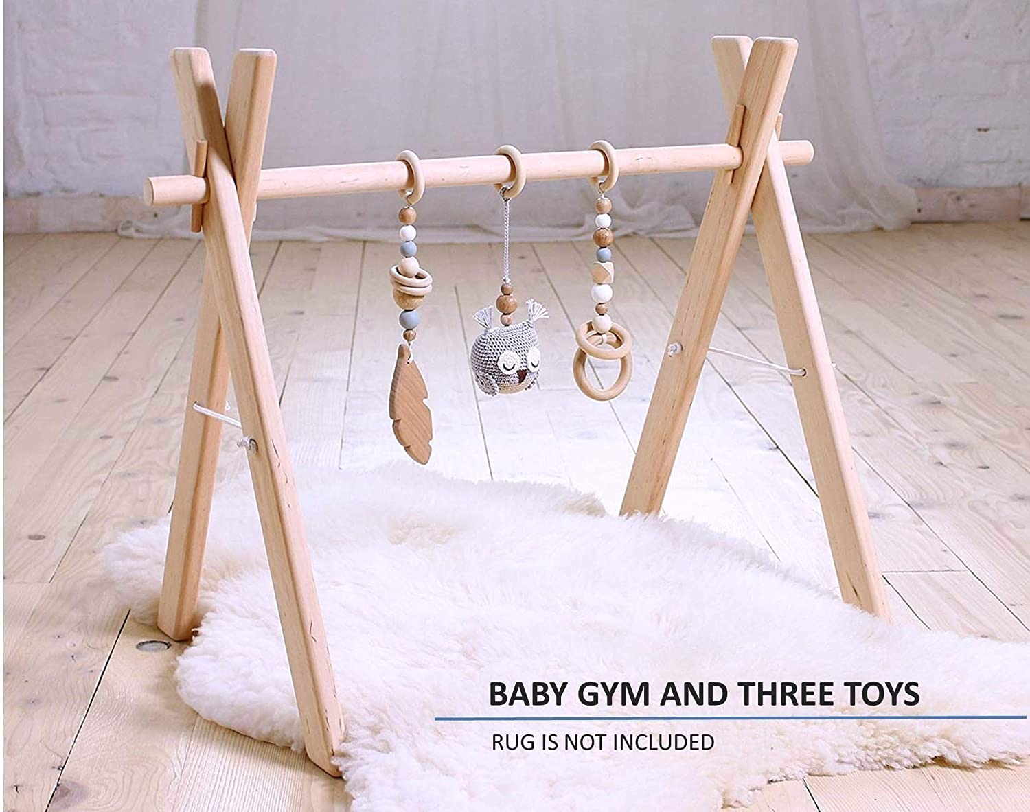 Baby gym wood with three mobiles: crochet owl, wooden feather, ring. Infant activity center, wooden play gym. Scandinavian. Woodland. Forest. Birds. Handmade in Eastern Europe. Gray & tan.