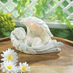 Angels Garden Decor Peaceful Sleeping Cherub with Solar Led Light Wing Garden Figurine