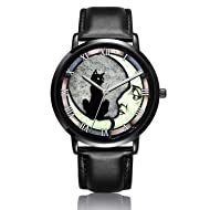 Canisto Cat Watches, Unique Ladies Watch Black Leather Band Watch for Couples Lovers Cute Personalized
